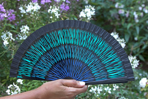 Wood Hand-painted Fan - Black and Blue