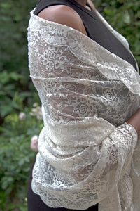 Large Ivory Floral Lace Veil/Shawl - Mantilla Head Covering