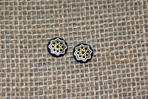 Damascene Round Stud Earrings - Star