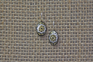 Damascene Oval Drop Earrings - Star