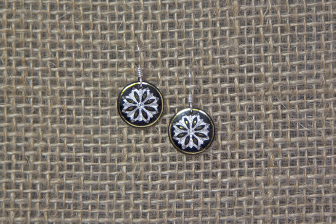 Damascene Round Drop Earrings - Silver Flower