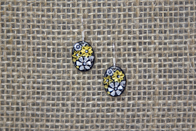 Damascene Oval Drop Earrings - Flowers