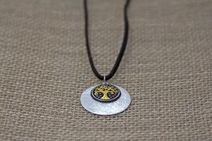Damascene Tree of Life Metallic Necklace - Black Leather Cord