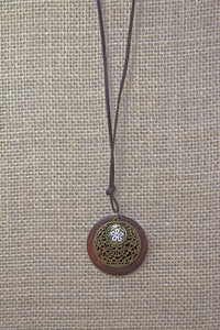 Damascene Flower Necklace - Brown Leather Cord
