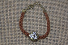 Damascene Tree of Life Bracelet - Braided Brown Leather Strap