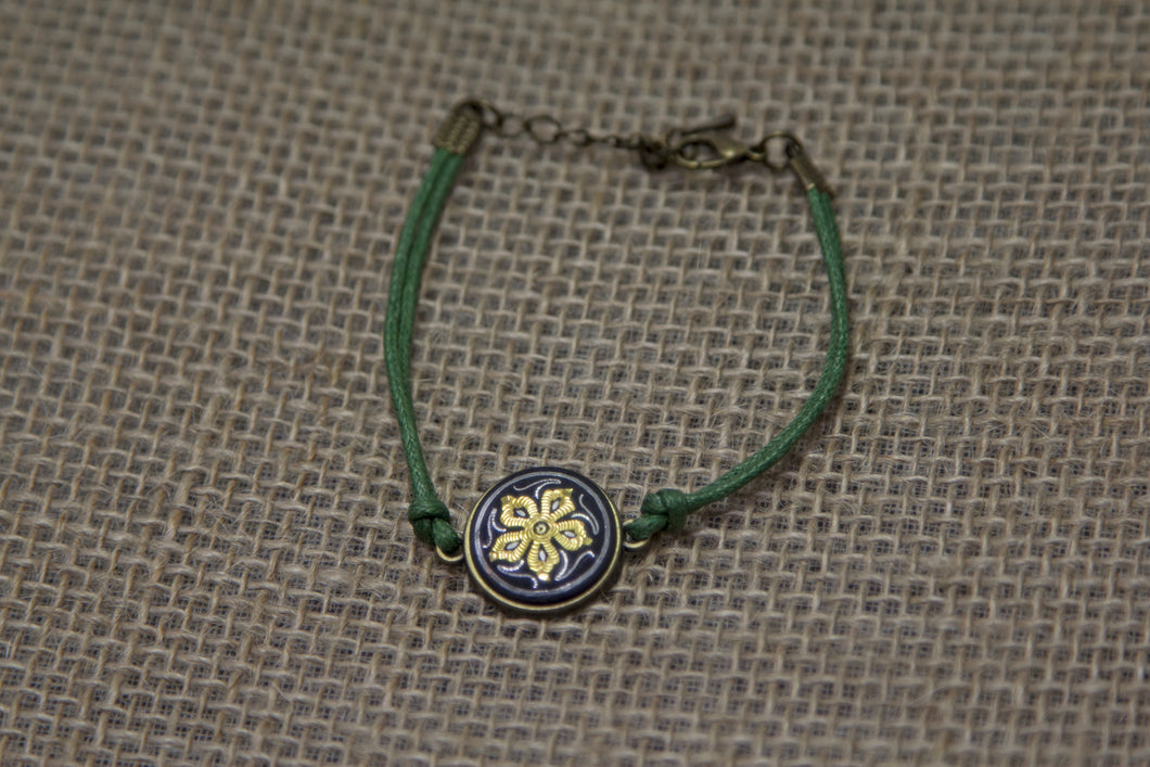 Damascene Flower Bracelet - Green Leather Strap