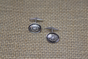 Damascene Men's Silver Cuff Links - Star