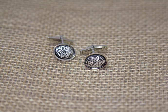 Damascene Men's Silver Cuff Links Star of David