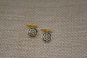 Damascene Men's Gold Cuff Links - Star