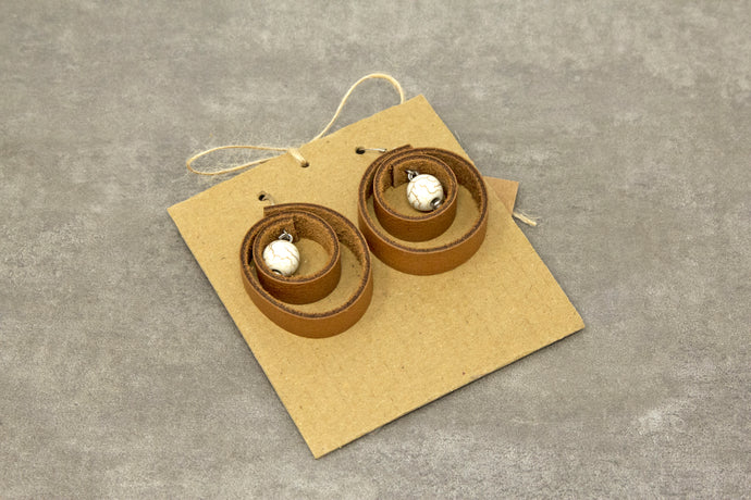 Round Drop Leather Earrings - Brown/Cream