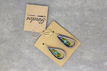 Tear Drop Leather Earrings - Gray/Blue/Green