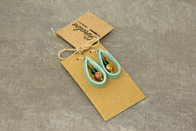 Tear Drop Leather Earrings - Light Green