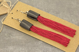 Tassel Leather Earrings with Silk Fringe - Red/Black
