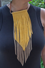 Leather Fringe Necklace - Chocolate/Tan