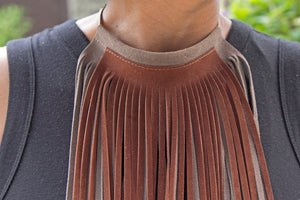 Leather Fringe Necklace - Light Brown/Chocolate