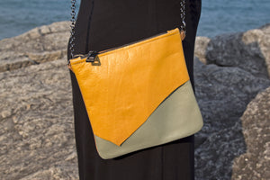 Leather Layer Handbag - Mustard Yellow/Light Green/Camel