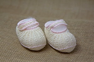 Elegant Baby Booties - Off White/Pink