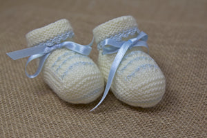 Elegant Baby Booties - Off White/Blue