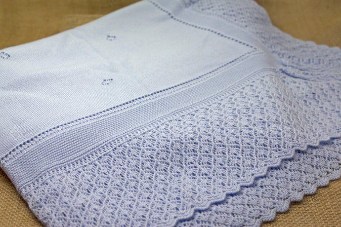 Hand Knit Baby Blanket - Blue