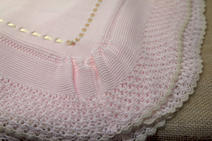 Hand Knit Baby Blanket - Pink