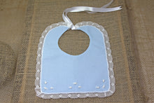 Embroidered Baby Bib - Blue/White