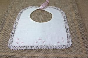 Embroidered Baby Bib - Off White/Pink