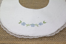 Embroidered Baby Bib - White/Blue/Green