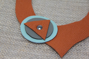Geometric Leather Choker - Burnt Orange/Gray/Light Green