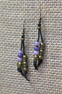 Copper & Leather Earrings - Purple
