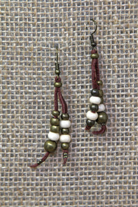 Copper & Leather Earrings - White/Black