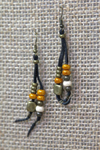 Copper & Leather Earrings - White/Orange