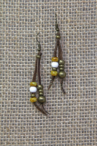 Copper & Leather Earrings - White/Amber