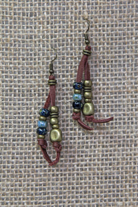 Copper & Leather Earrings - Blue
