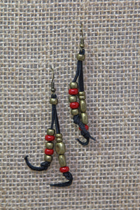 Copper & Leather Earrings - Red