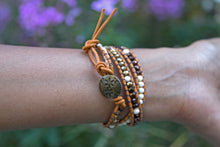 Three Wrap Chanluu Bracelet - Gold, Brown, Ivory