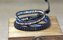 Three Wrap Chanluu Bracelet - Blue and silver
