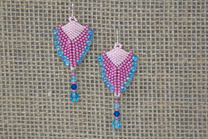 Miyuki & Czech Glass Earrings - Blue/Pink