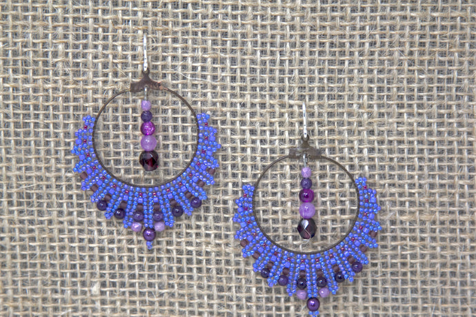 Miyuki & Czech Glass Earrings - Purple