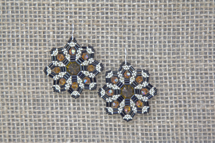 Swarovski & Miyuki Glass Earrings - Black/Gold
