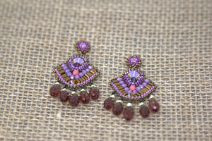 Swarovski, Miyuki & Czech Glass Earrings - Pink/Purple