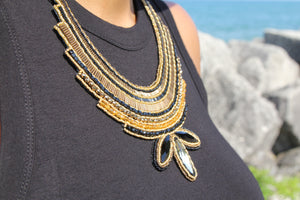 Miyuki and Czech Glass Necklace - Gold and Black