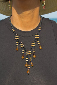 Miyuki and Czech Glass Necklace - Black/Amber