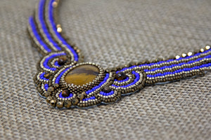 Miyuki and Czech Glass Necklace - Tiger Eye and Blue