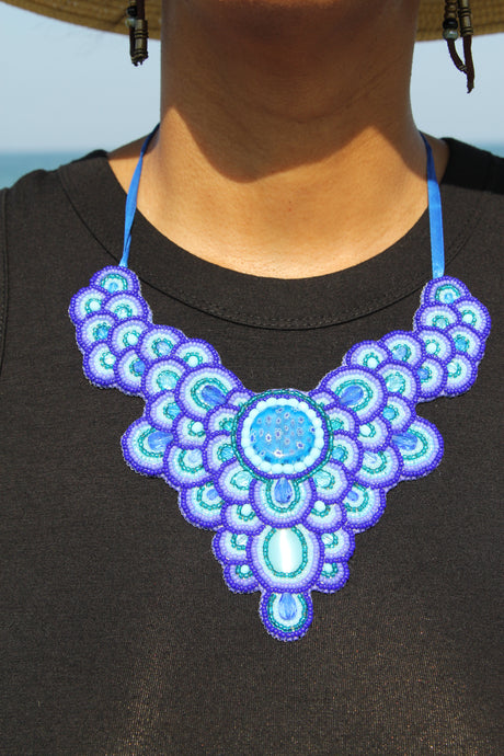 Miyuki and Czech Glass Necklace - Blue