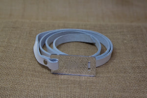 Leather Belt - White and Mirror
