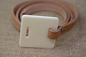 Leather Belt - Brown and White