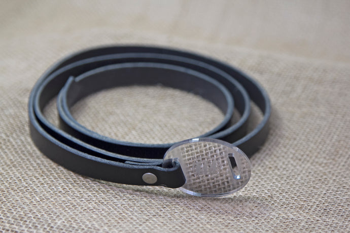Leather Belt - Black and Mirror