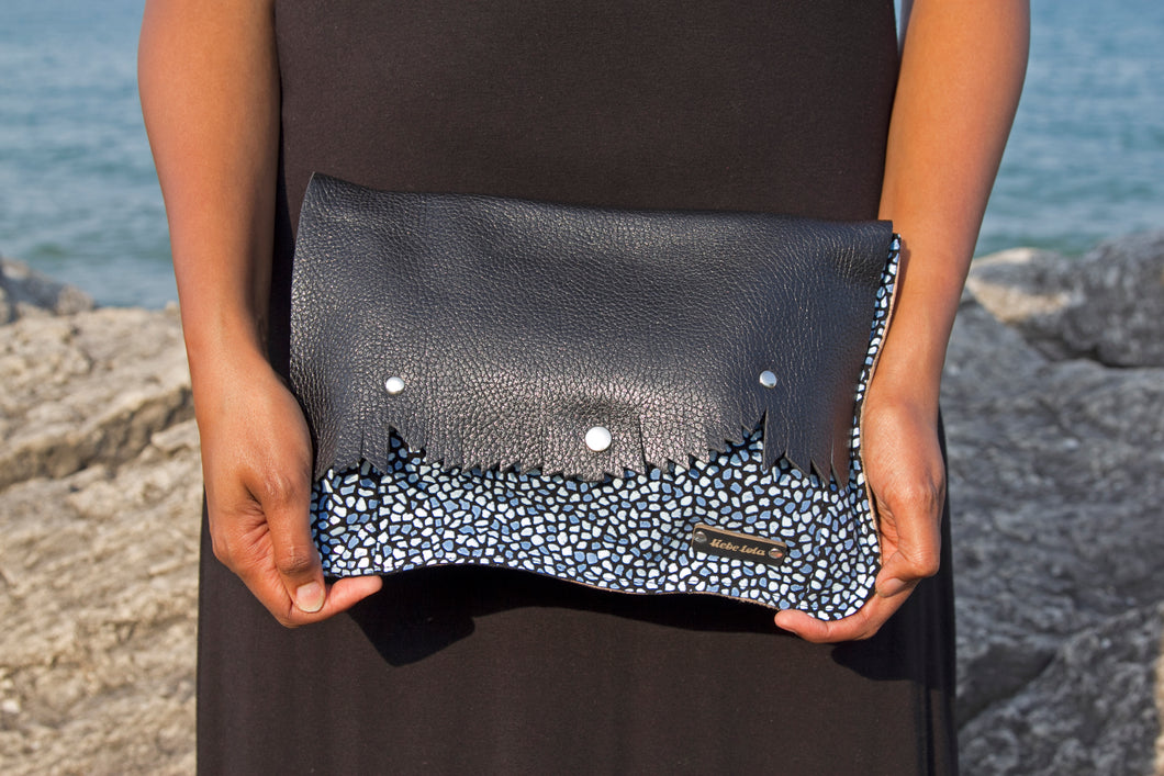 Leather Clutch Purse - Black/Blue