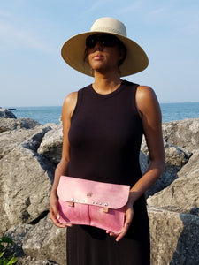 Leather Clutch Purse - Pink