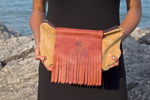 Suede & Leather Clutch Purse - Brown